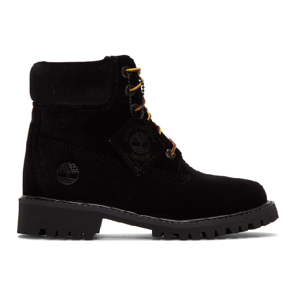 ac202e2187 Off-White + Timberland Logo-Embossed Velvet Ankle Boots In 1000 Black