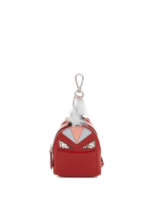 Fendi Mini Monster Backpack Charm For Handbag, Ruby Red In Crimson-red