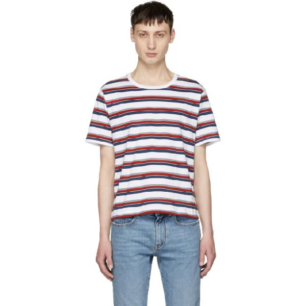 Saint Laurent Striped Cotton-jersey T-shirt - White In 9549 Multi