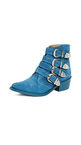 Toga Light Blue Suede Ankle Boots