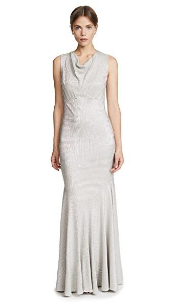 Zac Posen Raphaella Gown In White/Gold