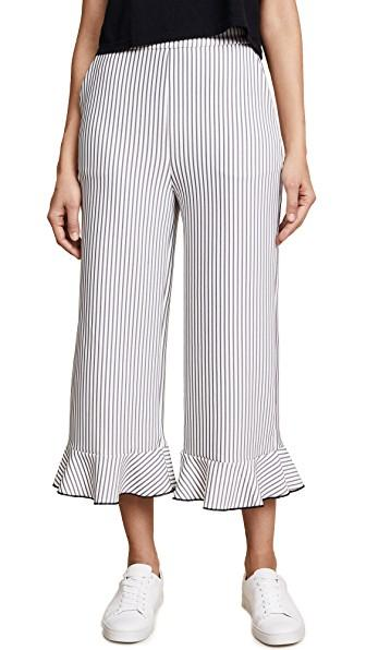 cab7080a0b English Factory Ruffle-Hem Wide-Leg Pinstriped Pants In Black/White Stripe