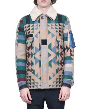 Valentino Virgin Wool- Mohair Blend Printed Jacket In Multicolour