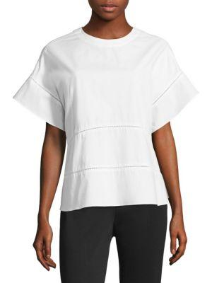 Dkny Cotton Crewneck Top In White