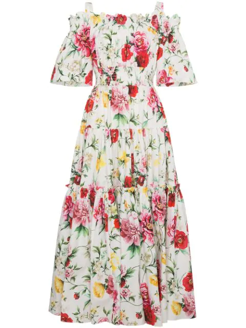 Dolce & Gabbana Butterfly And Padlock-print Off-the-shoulder Dress In Multicoloured