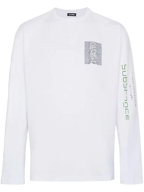 Raf Simons White Long Sleeve Joy Division Unknown Pleasures 'Substance' T-Shirt