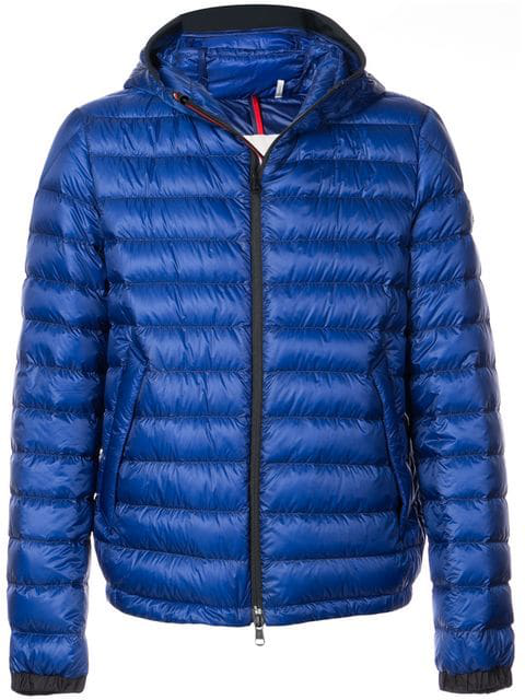 Moncler Morvan Quilted Shell Hooded Down Jacket In Blue