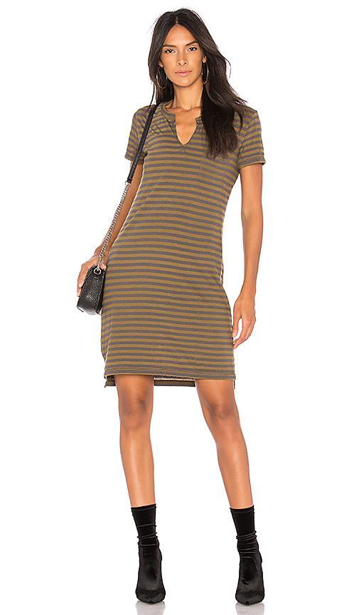 Stateside Army Stripe Dress In Charcoal