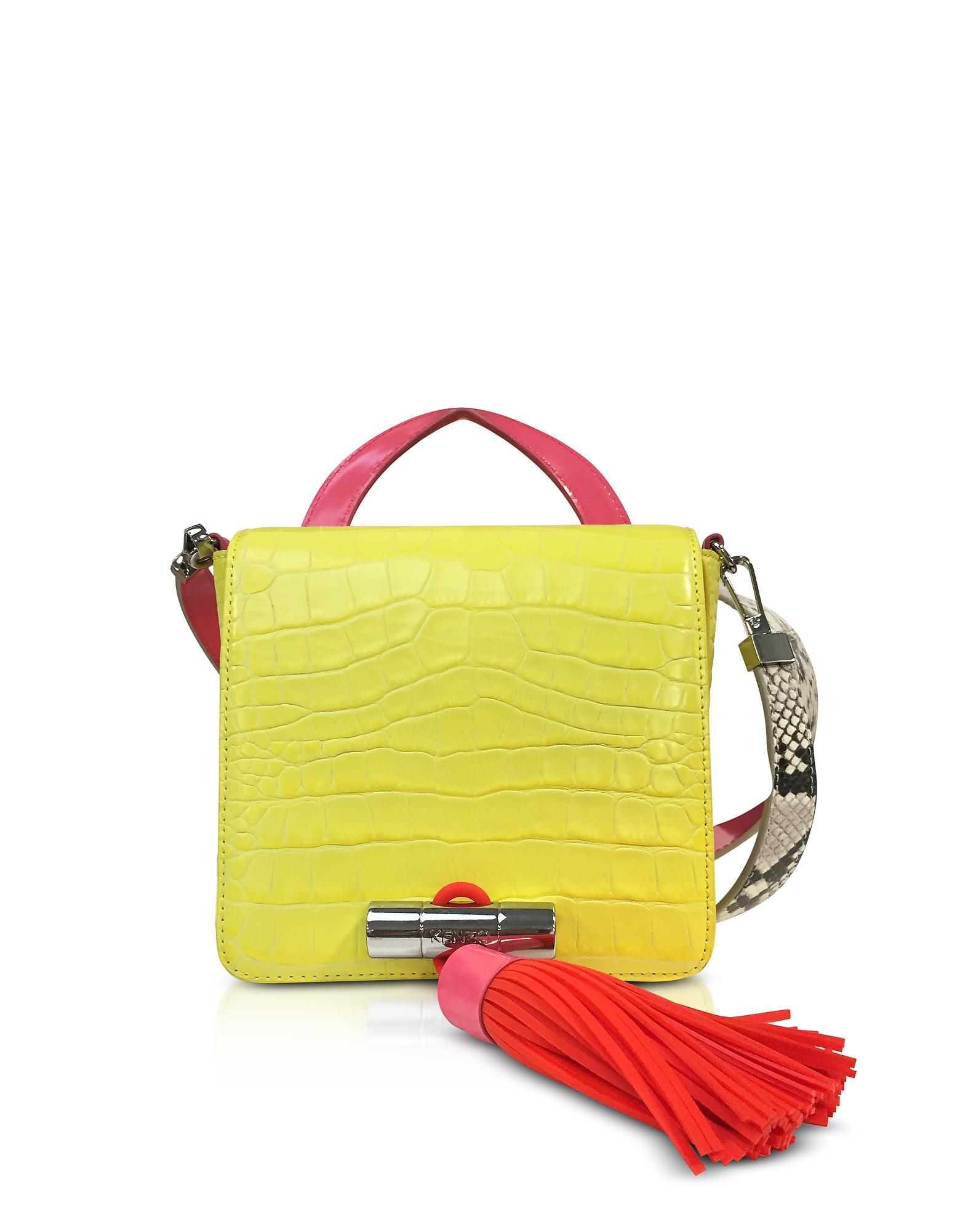 09434ace8b Kenzo Lemon Croco Embossed Leather Mini Sailor Bag W/Fuchsia Oversized  Tassel