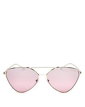 90247cad91e5 Prada Women s Mirrored Brow Bar Cat Eye Sunglasses