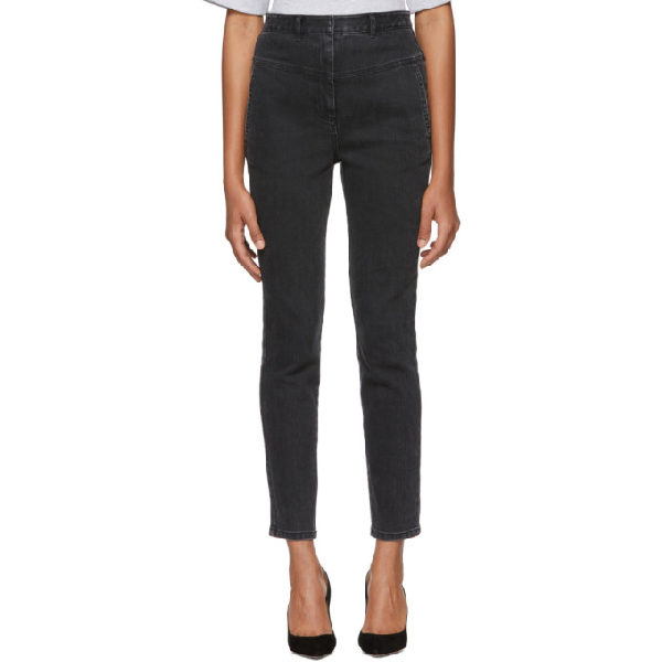 Tibi Jamie Cropped High-rise Straight-leg Jeans In Black