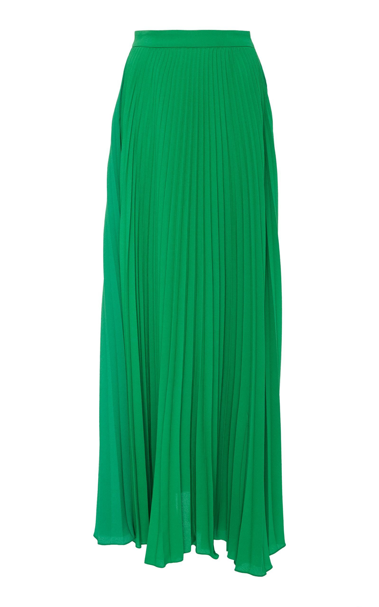 5363cefd1 Adriana Degreas Le Fleur High Waist Pleated Long Skirt In Green ...