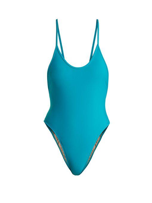 f28a5d184a Adriana Degreas Le Fleur High Leg Swimsuit In Blue | ModeSens