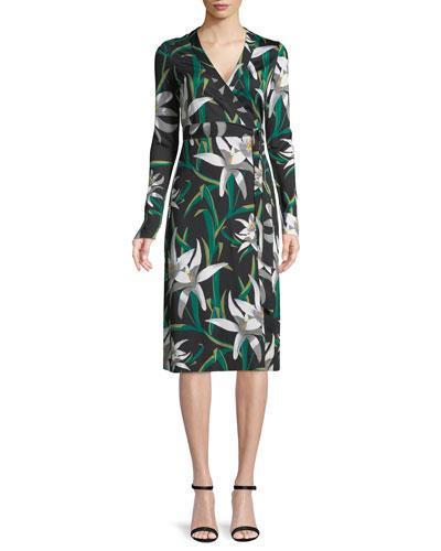 579a41079f923 Diane Von Furstenberg Cybil Lily Floral-Print Silk Wrap Dress In Black