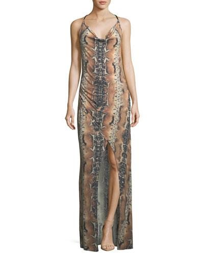 d49b01e4520 Haute Hippie Sidewinder Cowl-Neck Sleeveless Maxi Dress In Multi Pattern