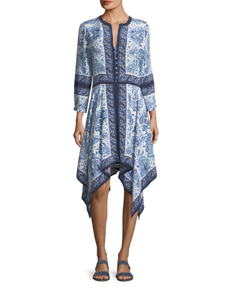 Joie Cynthia Button-Front Paisley-Print Silk Dress In Porcelain