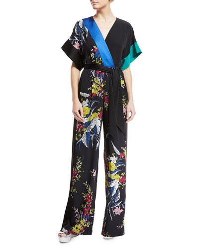 ced110175e78 Diane Von Furstenberg Wrap-Effect Belted Floral-Print Silk Crepe De Chine  Jumpsuit In