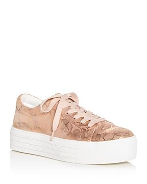 56127b04c0f3 Kenneth Cole Women s Abbey Techni-Cole Metallic Floral Print Platform Lace  Up Sneakers In Rose
