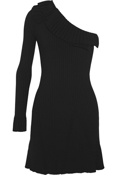 Emilio Pucci Woman One-shoulder Ruffled Ribbed-knit Mini Dress Black