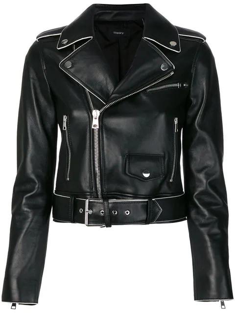 39bb9d65bd Theory Shrunken Lamb Leather Moto Jacket W/ Painted Edge In Purple ...