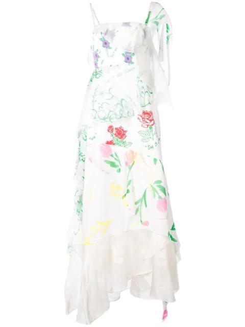 Rosie Assoulin Floral Print Layered Asymmetric Slip Dress In White