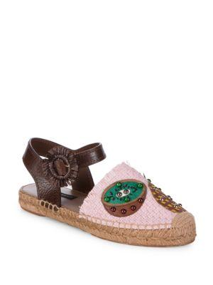 Dolce & Gabbana Bead Pineapple Espadrilles In Pink