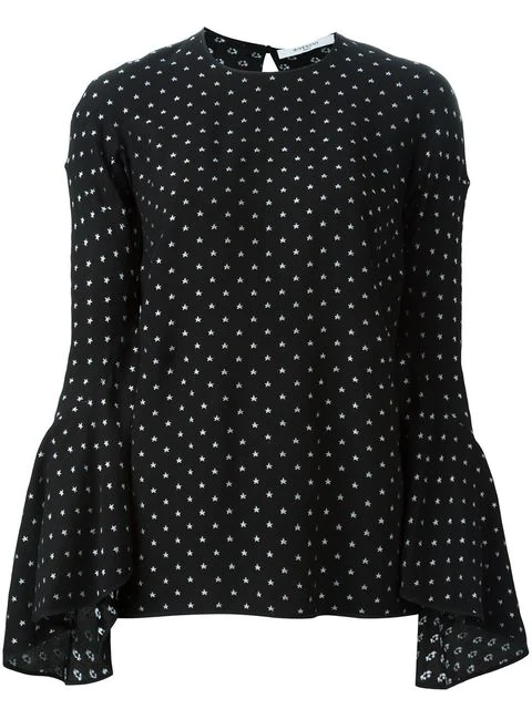 Givenchy Star Fil CoupÉ Bell-sleeved Crepe Top In Black