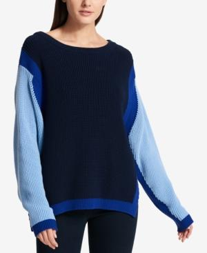 Dkny Cotton Colorblocked Sweater In Heritage Navy/Cornflower