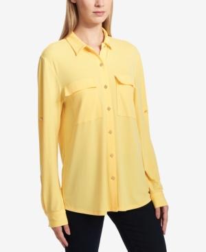 Dkny Roll-Tab Sleeve Button-Down Blouse In Sun