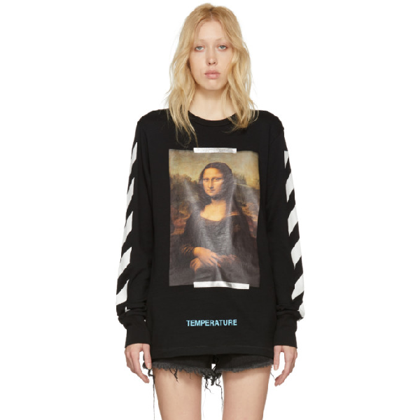 Off-white Printed Cotton-jersey Top In 1001 Blk Wh