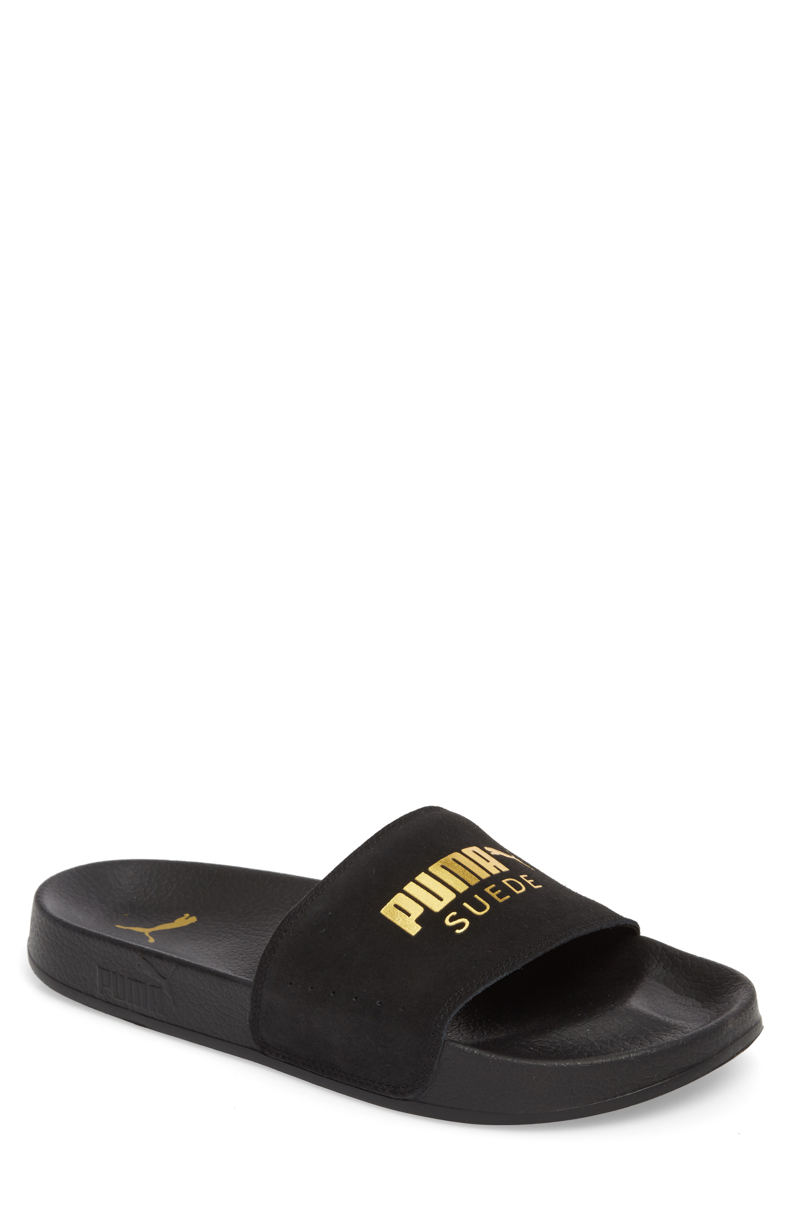 40d40e41f8be A logo-stamped bridge of soft suede ups the casual versatility of a sporty  slide molded for comfort with a contoured footbed. Style Name  Puma Leadcat  Suede ...