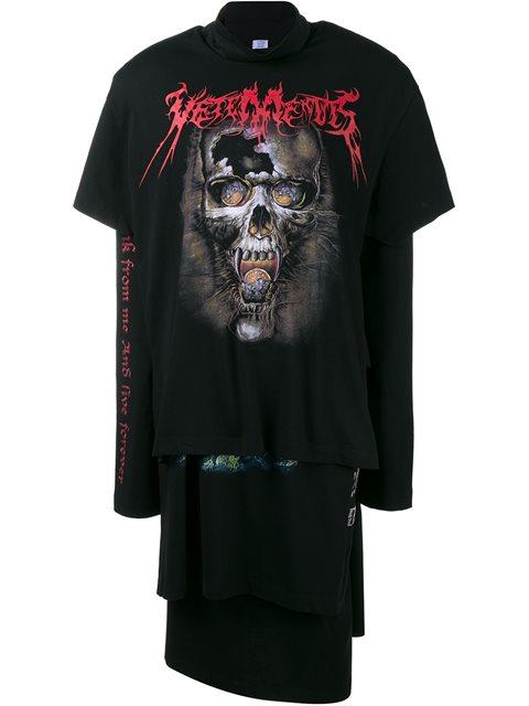 Vetements Women's Oversized Layered T-shirt Dress In Black