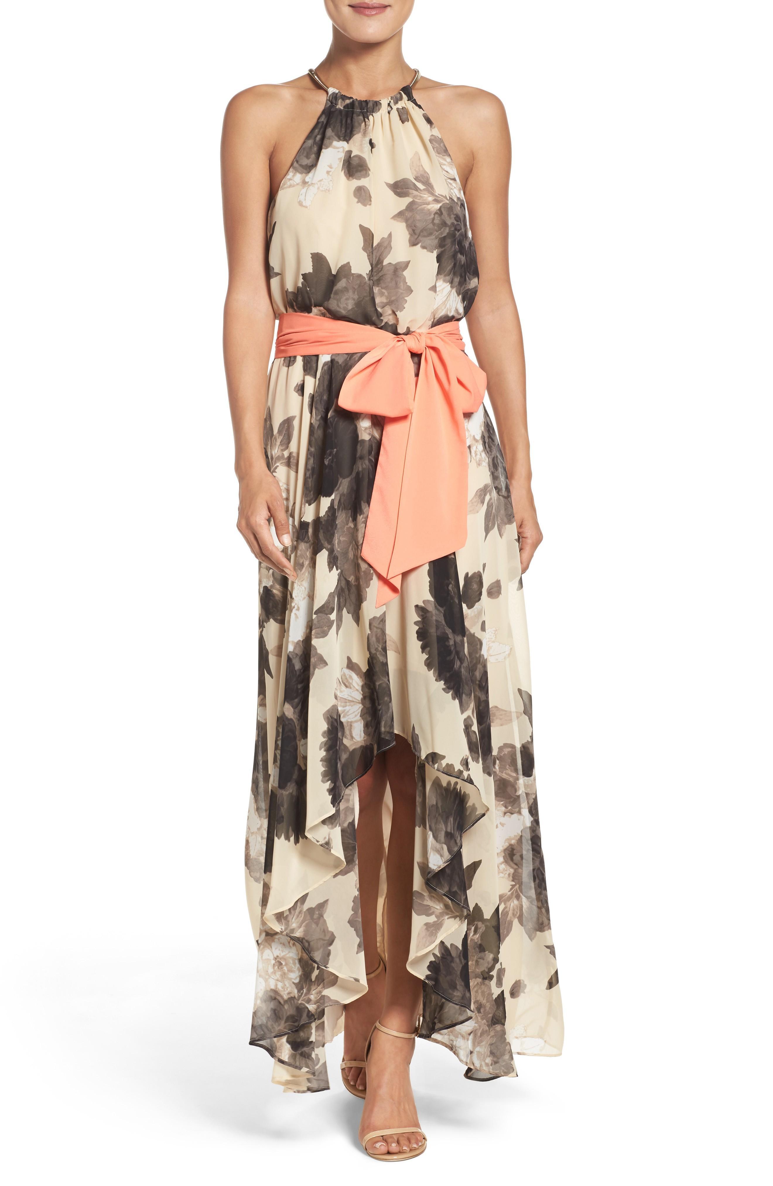 07f5fd854b9 Eliza J Floral Print Halter Chiffon Maxi Dress In Taupe  Black ...