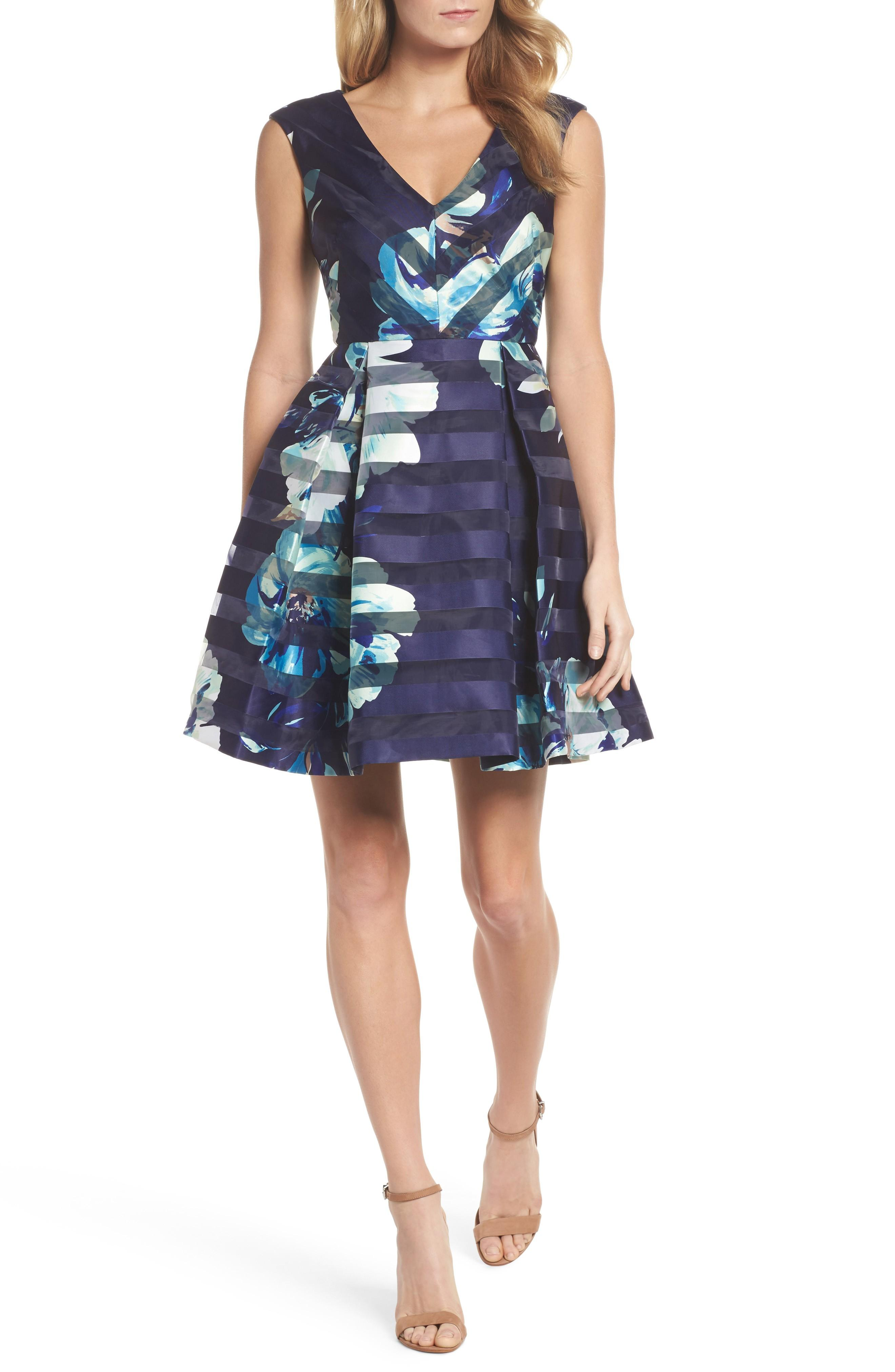 4c459db5da8f Vince Camuto Striped & Floral-Print Fit & Flare Dress In Navy | ModeSens