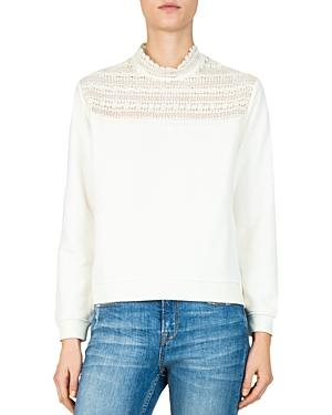 The Kooples Lace-Inset Sweatshirt In Ivory