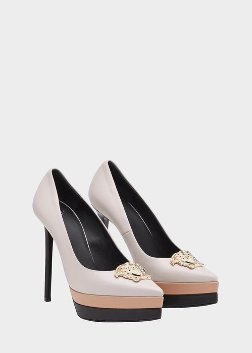 9a9e4704d263 Versace Medusa Tri-Color Platform Pumps In Neutrals