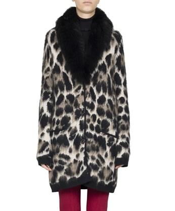 Roberto Cavalli Fleece Wool And Mohair Cardigan Coat In Multicolored