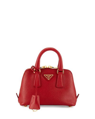 Prada Saffiano Extra-Mini Executive Crossbody Bag In Red