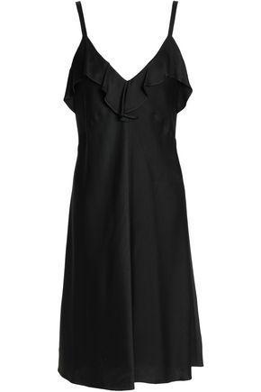 A.L.C Woman Ruffled Crepe De Chine Dress Black