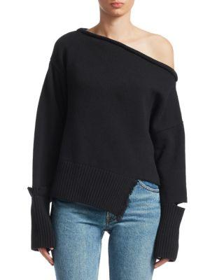 760d6a350bd613 Helmut Lang Distressed Wool-Cashmere Off-The-Shoulder Sweater In Black