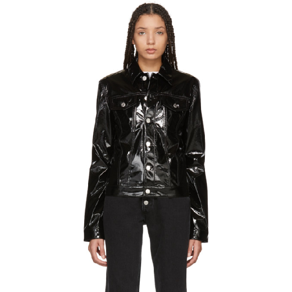 Helmut Lang Point-collar Patent Jacket In Black