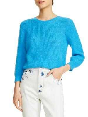 Maje Marcel Ribbed-knit Jumper In Blue