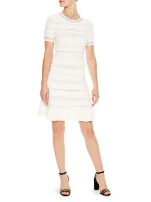 Sandro Stretch Knit Dress In Natural