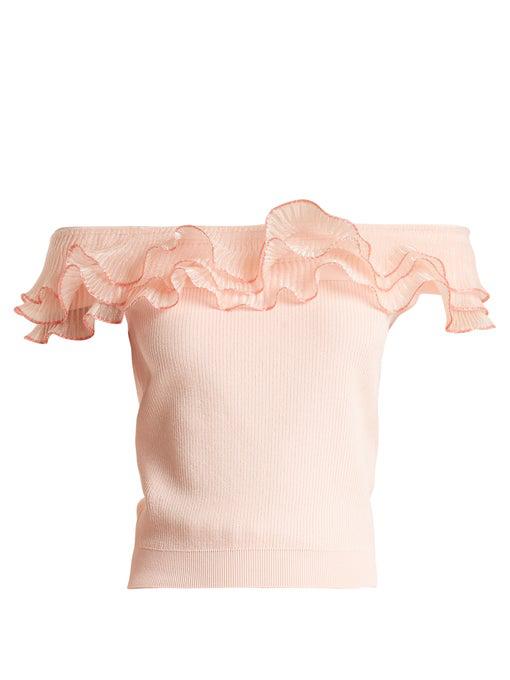 e075ad75c6da9b Alexander Mcqueen Ruffle-Trim Off-The-Shoulder Top In Peach-Pink ...
