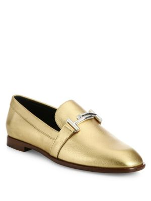 Tod's Double T Metallic Leather Loafers In Gold