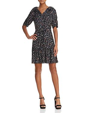 0a21ccbfcdb8 Rebecca Taylor Vine-Print Long-Sleeve Silk Shirtdress In Black ...