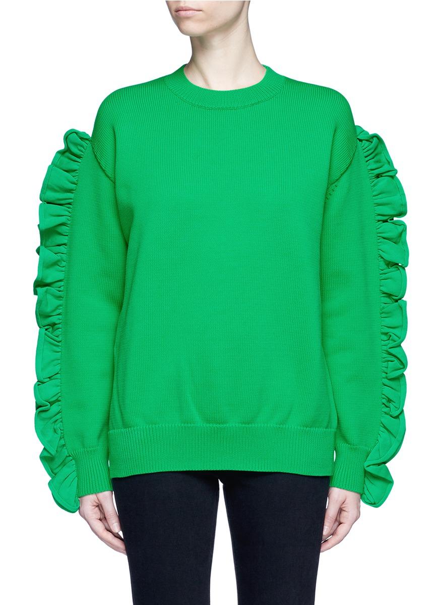 Victoria Victoria Beckham Pullover With Ruffled Sleeves In Green