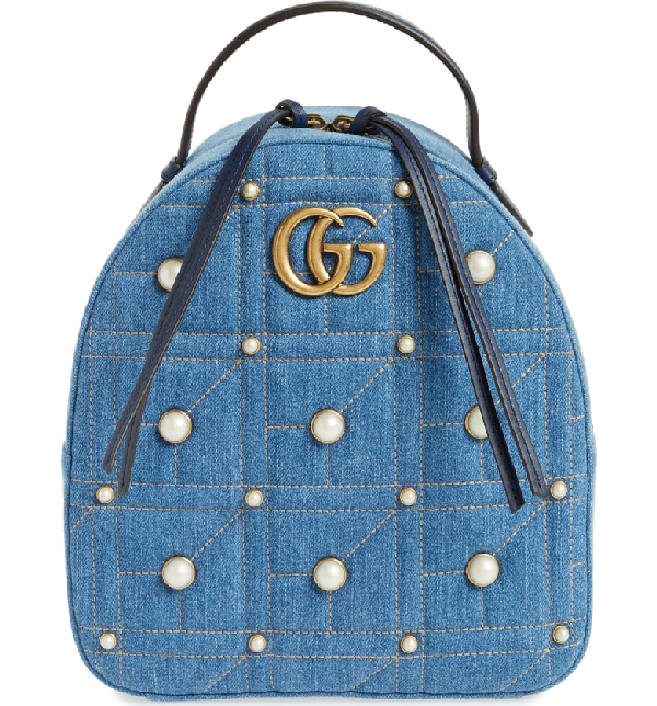 55dd7f05611c Gucci Gg Marmont 2.0 Imitation Pearl Embellished Denim Backpack - Blue In Denim  Blue
