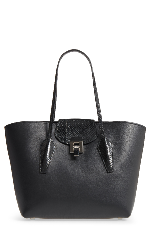 Michael Kors Large Bancroft Leather Tote With Genuine Snakeskin Trim - Black