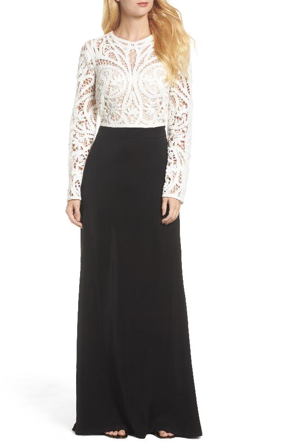 Tadashi Shoji Crochet Lace Crepe Long-sleeve Gown In Ivory/ Black